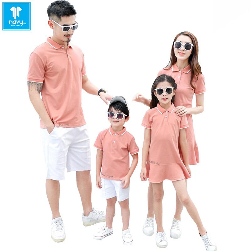 áo gia đình màu hồng