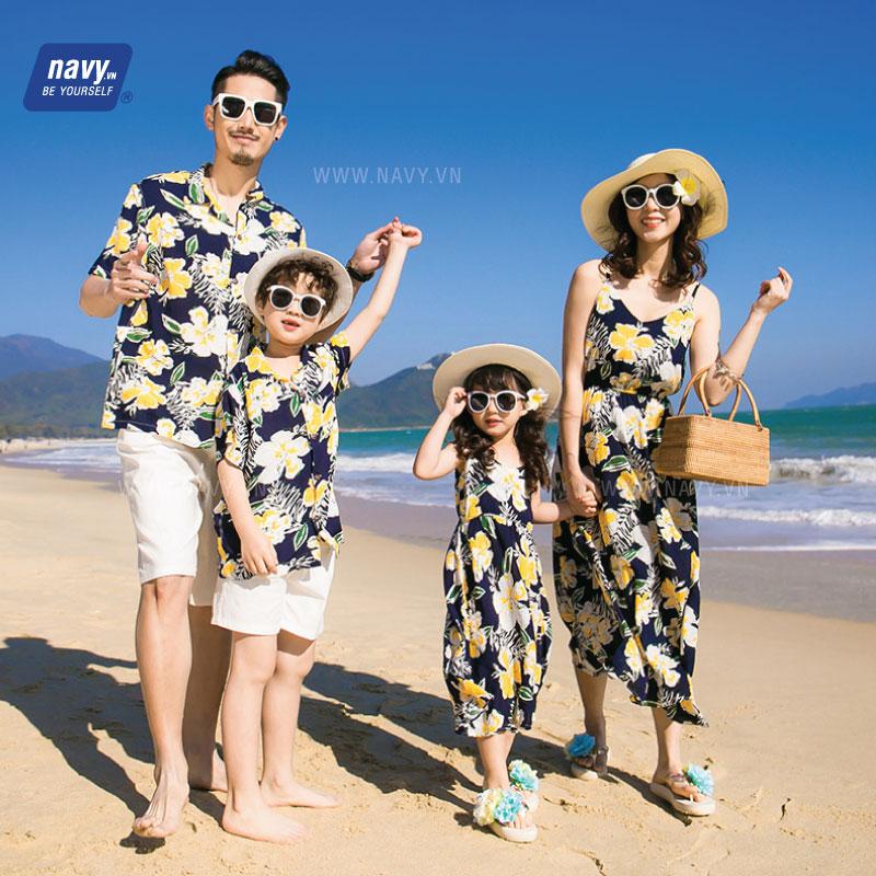 áo váy sơ mi gia đình màu vàng