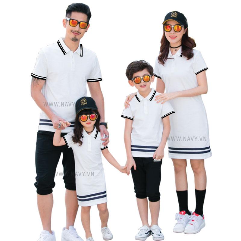 áo váy gia đình trắng